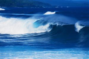 Waves Breaking Near Shore Hawaii, USA